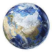 3D illustration of planet Earth globe on white background, centered on North Asia.