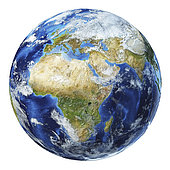 3D illustration of planet Earth globe on white background, centered on Africa and Europe.