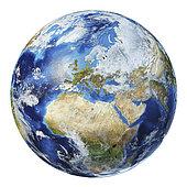3D illustration of planet Earth globe on white background, centered on Europe.