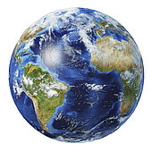 3D illustration of planet Earth globe on white background, centered on the Atlantic Ocean.