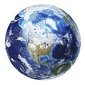 3D illustration of planet Earth globe on white background, centered on North America.