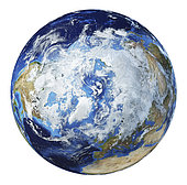 3D illustration of planet Earth globe on white background, centered on the North Pole.