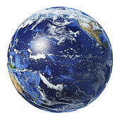 3D illustration of planet Earth globe on white background, centered on the Pacific Ocean.