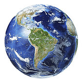 3D illustration of planet Earth globe on white background, centered on South America.
