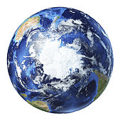 3D illustration of planet Earth globe on white background, centered on the South Pole.