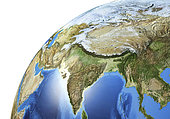 Detailed Earth globe close-up of South Asia.