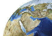 Detailed Earth globe close-up of the Middle East area.