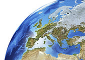 Detailed Earth globe close-up of Europe.