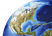 Detailed Earth globe close-up of North America.