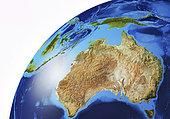 Detailed Earth globe close-up of Australia and Oceania.