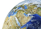 Detailed Earth globe close-up of the Middle East.