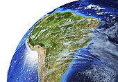 Detailed Earth globe close-up of South America.