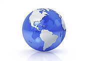 Stylized Earth globe, Americas view with grey continents and transparent seas to reveal continents on the other side.