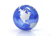 Stylized Earth globe, North America view with grey continents and transparent seas to reveal continents on the other side.