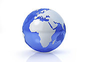Stylized Earth globe, Africa and Europe view with grey continents and transparent seas to reveal continents on the other side.