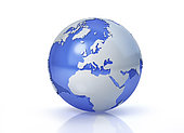 Stylized Earth globe, Europe view with grey continents and transparent seas to reveal continents on the other side.