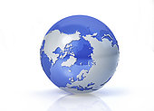 Stylized Earth globe, North Pole view with grey continents and transparent seas to reveal continents on the other side.