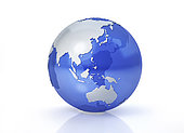 Stylized Earth globe, Oceania view with grey continents and transparent seas to reveal continents on the other side.