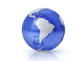 Stylized Earth globe, South America view with grey continents and transparent seas to reveal continents on the other side.