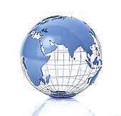 3D stylized Earth globe with metal grid, Asia view with some reflection on the surface.