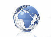 3D stylized Earth globe with metal grid, Africa view with some reflection on the surface.