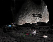 A bird's eye view of a mining settlement on the double asteroid 90 Antiope, located in the main asteroid belt between the orbits of Mars and Jupiter. These two asteroids are about the same size, 70 miles across, and orbit around a common center like two ends of a barbell. The gap separating the two bodies is only about 40 miles. The extremely low surface gravity would permit the construction of delicate structures, such as the solar power array silhouetted against the sunny side of the sister asteroid, and would make it relatively easy to transport mined material off the surface. . Some day a it may be worthwhile to mine resources from a distant asteroid, whether for raw materials for building an orbiting structure (cheaper than rocketing the materials from Earth's surface) or for some exotic material found only on a particular asteroid.