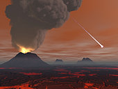 Artist's concept showing how the surface of the Earth may have appeared beneath its clouds about 500 million years after its birth, also known as the Hadean eon. Massive volcanoes and lava fields still dominate the landscape. In a few million years rain will begin falling, further cooling the crust. In about another 200 million years the first living microbes will call the Earth home.