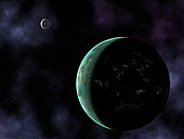 This image suggests how an extraterrestrial civilization on an earth-like planet might reveal itself via artificial light sources, in this case brightly lit cities that follow the contours of the ocean coasts. Perhaps some day there will be a telescope powerful enough to resolve such evidence for extrasolar intelligence.
