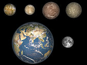 Artist's concept of Jupiter's four largest satellites laid out above the Earth and it's moon, showing their comparative sizes. From left to right, in order of their distances from Jupiter: Io, Europa, Ganymede, Callisto. These moons, also known as the Galilean moons, were first observed by the Italian astronomer Galileo over 400 years ago.