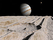 Artist's concept of an impact crater on Ganymede, about 10 miles in diameter, dominates a scene otherwise defined by a dozen long ridges. In the middle of the crater is a central peak, formed when the energy of the impact liquefied the crust long enough for it to rebound upward and solidify once again. . . Immediately above the horizon, Jupiter is still a majestic spectacle, even at a distance of nearly three times that between the Earth and its moon. Much closer on the upper right is Ganymede's sister satellite Europa. At a distance of 307 thousand miles from this vantage point, Europa is only a quarter again as far as the Earth is from its moon. To the lower left of Jupiter at nearly a million miles is Jupiter's volcanic satellite Io. . . Jupiter's largest satellite Ganymede has a varying surface, some of which is characterized by rumpled bundles of ridges and grooves that run for hundreds of miles over a frozen surface of water-ice. They probably formed long ago when tectonic forces pulled apart Ganymede's upper crust; similar sets of faults occur in rift zones on Earth, as in eastern Africa. Subsequent meteoritic impacts have peppered, and broken in places, the continuity of the running formations.