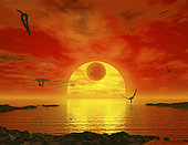 Flying life forms grace the crimson skies of the potentially earth-like extrasolar planet Gliese 581 c. The red dwarf star Gliese 581 rests on the horizon, presiding over a liquid water sea. Eclipsing the red dwarf is Gliese 581 b, a sister planet in the same system with a mass 17 times that of the Earth. While the existence of all three bodies has been confirmed, it is not known if Gliese 581 c has all the necessary ingredients to support life as we know it.