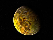 Illustration of a rocky and variegated extrasolar planet, Gliese 581 c. Gliese 581 c is a super-earth extrasolar planet orbiting the red dwarf star Gliese 581. I's been called a super-earth because it is one of the few known extrasolar planets that has a mass near Earth's, and the only one to occupy its sun's habitable zone.