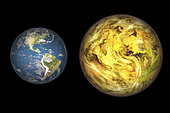 Illustration comparing the size of extrasolar planet Gliese 581 c (right) with that of the Earth (left). Gliese 581 c is believed to be about five times more massive than the Earth with a diameter about half-again as large as Earth's. Depending upon the planet's composition, whether mostly rock or a combination of rock and water, a visitor would experience a surface gravity between 1.25 to 2.2 times the Earth's. Gliese 581 c is about 20 light years away from Earth.