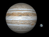 Artist's concept comparing the size of the gas giant Jupiter (left) with that of the Earth (right). Jupiter's diameter is over ten times greater than the Earth's, it has over 300 times the mass, and is five times further from the Sun than the Earth. . Jupiter is so large that its famous Great Red Spot (actually a giant, hurricane-like storm that's at least 400 years old) would easily swallow the Earth. Jupiter spins so fast on its axis that it bulges noticeably at its equator (a day on Jupiter is about ten hours long).