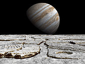 An artist's concept inspired by recent discoveries on Europa of regions that look very much like pack-ice on Earth's polar seas during spring thaws. The perspective is from an altitude of several thousand feet. The large crater in the foreground is about a half-mile in diameter. . Europa is Jupiter's fourth largest satellite and is slightly smaller than the Earth's Moon. Europa is believed to be composed of silicate rocks with a layer of water ice covering the entire surface. . It may be that beneath Europa's surface ice there is a layer of liquid water, perhaps as much as 30 miles deep. This subsurface ocean would be kept liquid by tidally generated heat. If Europa does indeed harbor a liquid water ocean, it would be the only place in the Solar System besides Earth where liquid water exists in significant quantities. It may also be the only place in the Solar System where life has evolved outside the Earth.