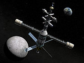 A lunar cycler has reached its furthest orbital point from the Earth, the apogee, and is rounding the far side of the Moon to begin its fall back toward Earth. At apogee the lunar cycler is about 300 thousand miles from the Earth and 50 thousand miles beyond the orbit of the Moon (further from Earth than any human has ventured yet). Based upon what may be technologically feasible within the next 75 years, this is a suggestion of what a lunar cycler might one day look like. This cycler would be 200 feet long (about the height of a 20-story building) and accommodate 12 passengers and crew. A 200 foot centrifuge bisects the cycler tower and provides artificial gravity for the wayfarers. . If frequent manned trips to the Moon become a reality, the earlier throw-away technologies of the Apollo lunar missions will be impractical for the long term. More efficient and reusable systems will need to be developed in order to minimize the labor and resources required for these extraordinary voyages. . A journey to the Moon can be broken down into three basic tasks: transfer between the Earth's surface and Earth orbit, transfer between Earth orbit and lunar orbit, and transfer between lunar orbit and the Moon's surface. While the simplest solution may be a single vehicle that could do all three, no technology today or in the foreseeable future can meet all these needs. One solution would be to dedicate separate vehicles for each of the three tasks. A reusable space shuttle would lift explorers off the Earth's surface, a dedicated and reusable lunar shuttle would deliver explorers to the Moon's surface and back, and in between there would be a kind of orbital way station. One such way station is known as an orbital cycler. . An orbital cycler is a vehicle that's in a permanent orbit around two celestial masses. In the case of a lunar cycler, the orbit would encompass both the Earth and the Moon. One lunar cycler proposal would place the cycler in a highly elliptical Earth/Moon or