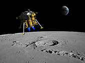 A lunar lander begins its descent to the moon's surface from an altitude of 40,000 feet.