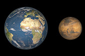 Artist's concept comparing the size of Mars with that of the Earth. Mars' diameter is half that of the Earth's, it has ten percent the mass and is 1.5 times the distance from the Sun. While the Earth is host to oceans of liquid water and has a relatively dense water-rich atmosphere, Mars is exceedingly dry, cold and, as far as we know, sterile. It is thought to have lost most of its water to space a long time ago, and any that remains is frozen at the poles and locked deep in the ground as permafrost.