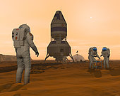 Illustration of astronauts setting up a base on the Martian surface around their lander vehicle. The first human visitors to Mars would face an environment nearly as hostile as the Earth's Moon. While Mars has an atmosphere, it contains no breathable oxygen and is so thin that the surface air pressure is about the same as the Earth's 18 miles above sea level. To venture outside, humans would need hardy suits that would supply pressure, oxygen, moisture, warmth, and insulate them from the fine martian dust that may be both abrasive and chemically reactive. Even with these precautions, humans would still be vulnerable to radiation from solar storms and the continual rain of interstellar cosmic rays.