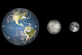 Artist's cocnept showing the Earth, Mercury and Earth's moon to scale (from left to right). Mercury is one third the diameter of the Earth, and is the closest planet to the Sun. Mercury is somewhat larger than the Earth's Moon and is believed to be composed mostly of iron and rock, making it considerably denser than the Moon.