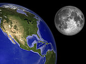 Artist's concept of the Earth and its moon. The Moon is one quarter the diameter of the Earth and has only one percent the mass. If you weigh 180 pounds on the Earth, you would weigh only 30 pounds on the moon.