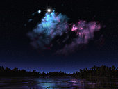 This star-forming nebula is only a few light years from the surface of this hypothetical planet, resulting in a spectacular display in the evening sky. A young blue-giant star illuminates the surface of the star cloud. A second star, buried within, causes parts of the cloud to fluoresce a magenta hue.