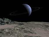 Illustration of the gas giant Neptune as seen from the surface of its moon Triton. White cirrus clouds race across a crescent Neptune as it presides over Triton's bleak and frozen south polar region. Sheets of frozen nitrogen ice with traces of other substances, including frozen methane and carbon monoxide, overlie Triton's darker material. The ice has turned pink due to the interaction with ultraviolet light from the distant Sun. Further south all of the surface of Triton is covered by such ices.