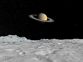 Artist's concept of Saturn as seen from the surface of its moon Iapetus. Saturn dominates Iapetus' velvet black sky framed by three inner moons. Left to right are Tethys, Rhea and Dione. . Less than half the size of the Earth's moon, ice-covered Iapetus is one of the few places in the solar system that offers a good view of Saturn's rings. This is because Iapetus' orbit is inclined almost 15 degrees to Saturn's equator. With the exception of Phoebe, none of Saturn's other satellites offer such a vantage point. Unlike haze-shrouded Titan, Iapetus has no atmosphere to speak of and is believed to be composed almost entirely of water ice.