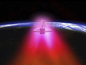 Illustration of a space shuttle re-entering the Earth's atmosphere. In order for the Space Shuttle to return to Earth it must shed 18,000 miles per hour of velocity and descend low enough to make an unpowered glide to a landing strip. With 115 tons of vehicle traveling fast enough to circle the globe once every 90 minutes, there is a tremendous amount of kinetic energy to dispose of. The Shuttle disposes this energy like every other manned space vehicle: it uses the Earth's atmosphere to convert its kinetic energy into heat. The Shuttle does this by slowly descending into the atmosphere bellyside-down at a 40 degree angle. This presents a large, blunt surface to the rushing air that continues to slow the orbiter for the next 16 minutes. . Through a combination of friction and compression, the temperature of the air around the Shuttle rises to 3,000 °F, hot enough to ionize the air into a glowing plasma trail that extends for miles behind the Shuttle. One effect of this plasma is to block all radio contact between the orbiter and ground control during the duration of reentry. . The Shuttle withstands the punishment of reentry via a thermal protection system that consists of thousands of individual silica tiles. The tiles, which are essentially bricks of very pure quartz sand, prevent heat transfer to the underlying orbiter aluminum skin and structure.