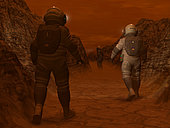 Artist's concept of astronauts exploring a dry gully on Saturn's moon Titan. In early 2005 the European Space Agency's Huygens probe revealed a surface carved by numerous drainage channels similar to river deltas on Earth. While the exact nature of these channels is not yet known, one theory proposes that Titan's surface of hydrocarbon sediments has been washed from the highlands by methane rain.