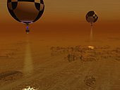 A pair of balloon-borne probes leisurely survey a methane-ethane swamp on Titan. Each probe carries its own spot light illuminating the terrain below, augmenting the haze-filtered sunlight. . . Scientists have long speculated that methane and ethane may exist as liquids on Titan's extremely cold surface, but it wasn't until 2005 that the Cassini spacecraft's radar imager detected what indeed may be large hydrocarbon lakes on Titan's northern latitudes. While it is believed that the liquid in these lakes would be primarily methane and ethane, this won't be confirmed until the lakes are actually sampled. Whatever lies on Titan's surface, there is the possibility that the ancient and exotic environment has given rise to compounds heretofore unknown on Earth. . Large quantities of Methane and ethane exist in Earth's relatively warm environment as components of natural gas.
