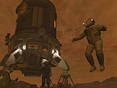 Artist's concept of astronauts exploring the surface of Saturn's moon Titan. While Titan is one of the largest terrestrial worlds in the Solar System, larger even than any of the known dwarf planets, the pull of gravity at its surface is only 1/10th the Earth's. A 150 pound astronaut with a 200 pound suit would weigh only 35 pounds on Titan. Titan's surface gravity is lower than even the Moon's (which is 1/6th the Earth's), and yet Titan's diameter is about 50% larger than the Moon's. The reason for the discrepancy is because Titan's interior is composed of roughly equal parts water ice and rock, while the Moon's interior consists of denser silicates, and possibly iron at the core.