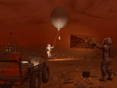 A titanian explorer prepares to release a weather balloon while another directs a flood lamp to illuminate the activity. On the left is a supply cart with a portable weather station, featuring an interactive control panel designed to accommodate hands enclosed in thick gloves. All exposed hardware would have to function at temperatures of minus 300° F and below. . With an atmosphere 10 times denser than the Earth's, weather would be of keen interest to Titan's visitors. High in Titan's atmosphere wind velocities in excess of 400 mph have been detected. While not much is known about winds and weather at Titan's surface, terrain features resembling dune fields have been observed, suggesting surface winds have occurred at some locations. Fogs of methane gas would likely be present at the surface as well.