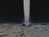 There is evidence that the south pole of Neptune's satellite Triton is host to dozens of ice volcanoes, or geysers. One such eruption was observed to shoot a towering jet of material to a height of five miles, while the tenuous nitrogen atmosphere carried the smoky plume over 80 miles downwind. The eruptive material is believed to be a combination of liquid nitrogen, dust, and methane compounds driven by seasonal heating from the Sun.